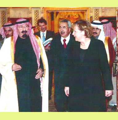 King Abdullah receiving Chancellor Angela Merkel in Riyadh 2007
