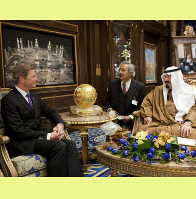 King Abdullah receiving Minister Westerwelle in Riyadh 2010