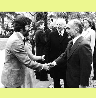 President Walter Scheel receiving King Hussein in Bonn